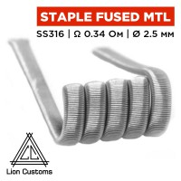 Staple Fused Clapton Coil MTL (Lion Customs), 0.3х0.1 мм SS316 0.34 Ом